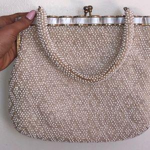 Vintage 1950s White & Gold Beaded Lucite Handbag